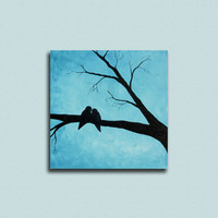 Love Birds on a Branch 12x12 Original Painting - Bird Painting - Bird Art