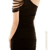 Black One Shoulder Pleated Bodycon Dress - Sheinside.com