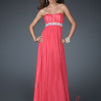 Sheath/Column Strapless Floor-length Chiffon Best-Selling Prom Dress with Beading at Msdressy