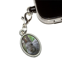 Bunny Rabbit Gray Easter Mobile Phone Charm - No. 2