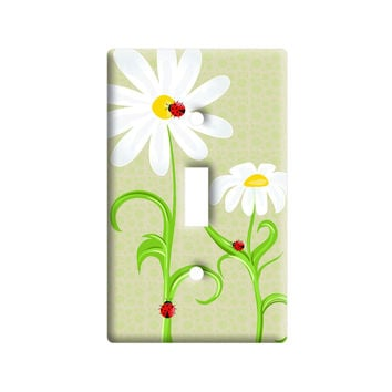 Ladybugs on Daisies - Lady Bugs Daisy Flowers Light Switch Plate Cover