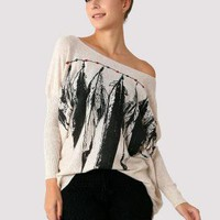 Loose Fit Long Sleeve Sweater with Feather&Bead Print