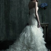 Trumpet/Mermaid Strapless Embroidery Satin Chapel Train Wedding Dress at Dresseshop