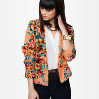 Pretty Floral Blazer - Print Blazer - Open Blazer - Orange Jacket - $43.00