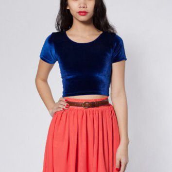 Velvet Crop Tee | Short Sleeves | Women's Crop Tops | American Apparel