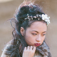 woodland flowers and Ivory berry headband for weddings