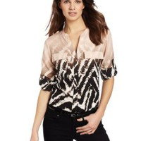 Amazon.com: Calvin Klein Women&#x27;s Ombre Zebra Roll Sleeve: Clothing