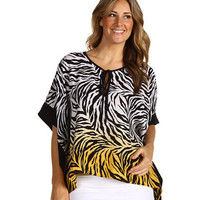Karen Kane Plus Plus Size Zebra Reverse Silk Charmeuse Banded Scarf Top
