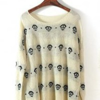Skull Long Sleeve Sweater - Designer Shoes|Bqueenshoes.com