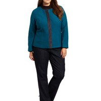 Pendleton Women's Plus Size Zelda Boiled Wool Jacket, Teal, 3X