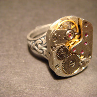 Steampunk Watch Movement Ring with Exposed Gears (574)