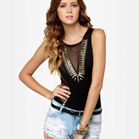 Sexy Studded Bodysuit - Black Bodysuit - $43.00