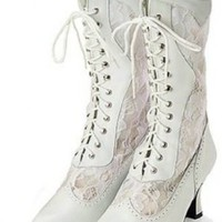 Victorian Leather and Lace Wedding Boot