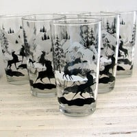 6 Vintage Tumblers Deer in the Forest Mid Century by BeeJayKay