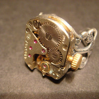 Steampunk Watch Movement Ring with Exposed Gears (577)
