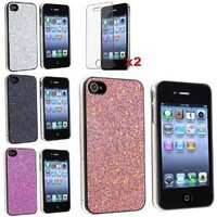 Amazon.com: eForCity 4 Bling Glitter Hard Case Skin compatible with iPhone® 4 4G Version iPhone® 4S - AT&T, Sprint, Version 16GB 32GB 64GB, with 2 screen protector free: Cell Phones & Accessories