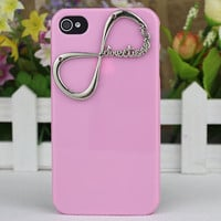 Light Pink Hard Case Cover With One Direction &quot;Directioner&quot; Infinity for Apple iPhone 4 Case, iPhone 4 Cover,iPhone 4s Case, iPhone 4gs