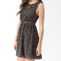 Ditsy Reader Print Dress w/ Belt