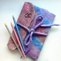 Note Book or Journal Cover. Handcrafted Felt Diary Cover