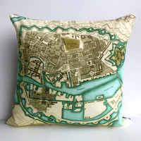 COPENHAGEN map cushion, organic cotton , pillow, cushion , 16 inch, 41cm