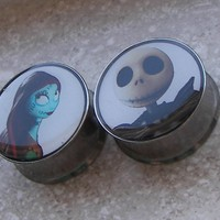 Pierced and Belligerent Jack & Sally Plugs - The Nightmare Before Christmas
