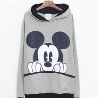 Gray Mickey Cartoon Casual Sweatshirt - Designer Shoes|Bqueenshoes.com