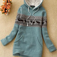 Green Deer Pullover Hooded Sweatshirt - Designer Shoes|Bqueenshoes.com