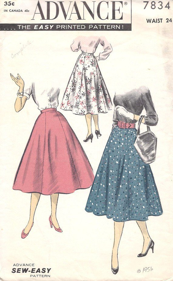 Lovely 1950s Six Gore Skirt Advance Sewing by MissBettysAttic