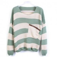Green Stripes Loose Sweater with Pocket - Designer Shoes|Bqueenshoes.com