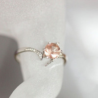 Oregon Sunstone Ring, Pink Oregon Sunstone Ring, Sterling Silver Pink Schiller Oregon Sunstone Ring