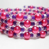 Wrap Bracelet Pink and Purple Pearl Memory Wire Bracelet