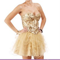 Kennalee-Gold Homecoming Dress