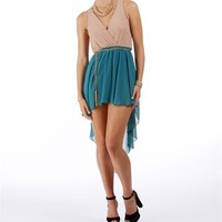 Nude/Teal Hi Lo Dress