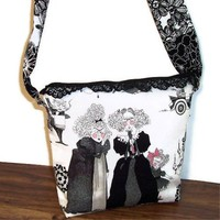 Sisters Shoulder Bag Purse Black White Pink Ghastlie Halloween Tote