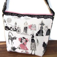 Shoulder Bag Purse Crossbody Handle Pink Gray White Ghastlie Handmade