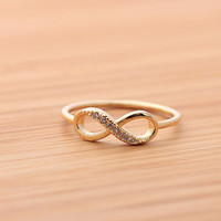 INFINITY ring with crystals,in gold (plated, 925 sterling) | girlsluv.it - handmade jewelry collection, ETSY, Artfire, Zibbet, Earrings, Necklace