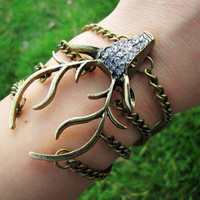 Vintage Style Antique Bronze Deer Antler Pendant Women Girl Chain Cuff Bracelet  438A-1
