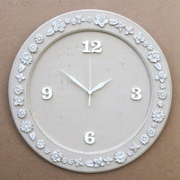 "Shabby Chic Wooden ""Mocha Latte""  Wall Clock"