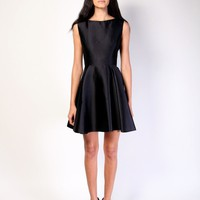Christian Siriano Online Store  Silk Wool Scoop Neck Circle Skirt Dress