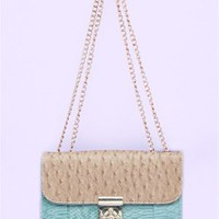 A'GACI Ostrich + Croc Color Block Crossbody - New Arrivals