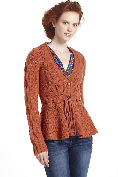 Stitchy Peplum Cardigan