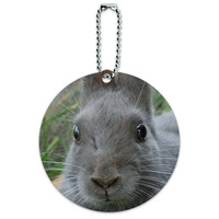 Bunny Rabbit Gray Easter Round ID Card Luggage Tag