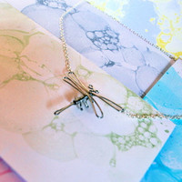 Silver Dragonfly Necklace - Detailed Wire Dragon Fly - Handmade with Love