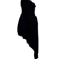 Black Asymmetric Hankerchief Hem Dress - Dresses - desireclothing.co.uk