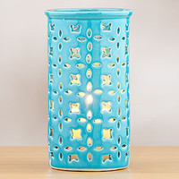 Blue Ceramic Cutout Hurricane, Large | Candles & Home Fragrance| Home Decor | World Market