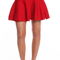 HIGH WAISTED KNIT FLARED SKIRT - RED