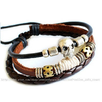 Bangle skull bracelet leather bracelet men bracelet Cuff made of leather and metal skull wrist bracelet  SH-0725