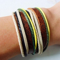 Adjustable leather bracelet men bracelet women bracelet made of leather and colorful hemp rope wrist bracelets SH-0146