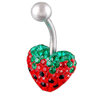 Girls Strawberry Heart Non-Dangle Light Siam Crystal Belly Button Ring [Gauge: 14G - 1.6mm / Length: 10mm] 316L Steel Casting & Crystal