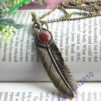 Pretty retro copper bird feather necklace pendant vintage style
